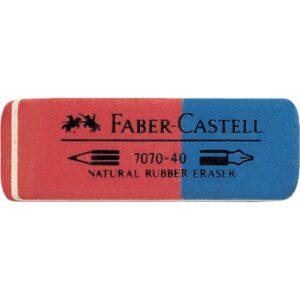 Gomma FABER CASTELL rossa-blu per matita ed inchiostro