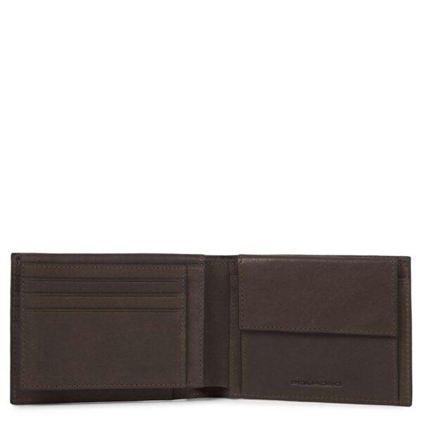 Portafoglio uomo con porta documenti, portamonete, porta carte di credito e anti-frode RFID Black Square PU1392B3R