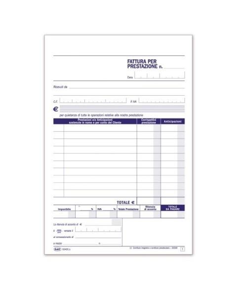Parcelle - Fatture Per Prestazioni Professionali - Blocco - 50 Fogli buffetti