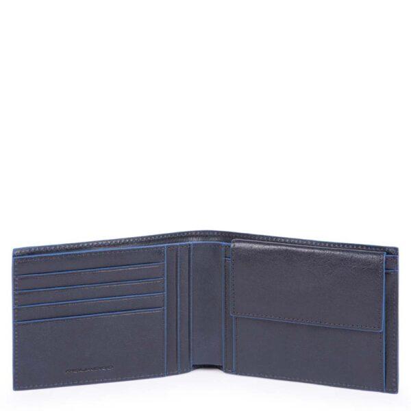 Portafoglio uomo con portamonete e protezione anti-frode RFID Blue Square Special PU257B2SR